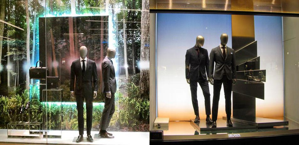 vetrina Hugo Boss per allestimento vetrine abbigliamento uomo