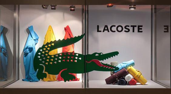 vetrina Lacoste allestimento vetrine abbigliamento uomo