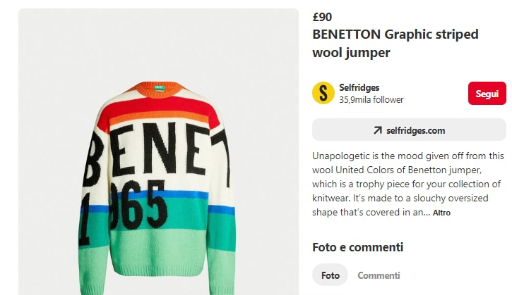 Selfridges Pin of Benetton jumper