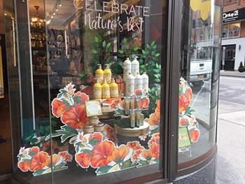 esempio di vetrina profumeria con fiori sagomati