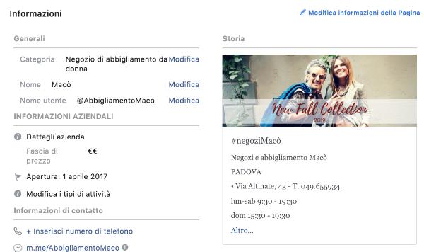 pagina facebook di un negozio - la storia