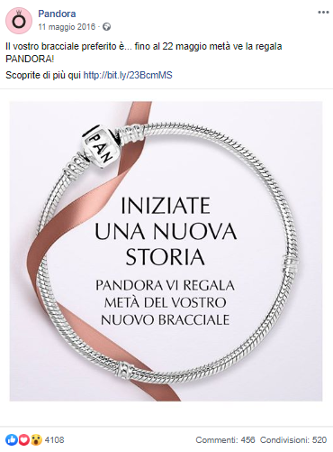 post pubblicitario Pandora