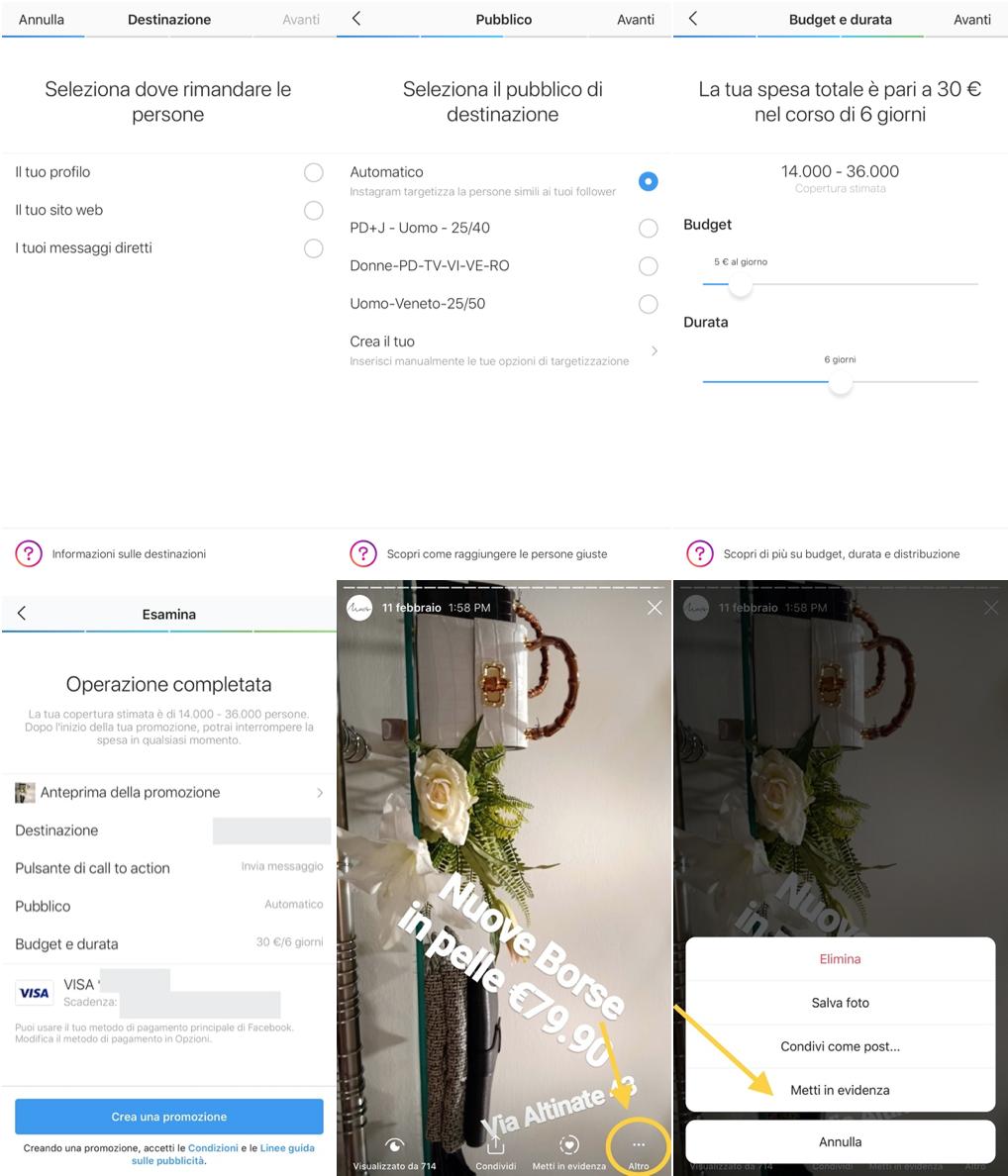 Pubblicità Instagram Stories tramite l'app