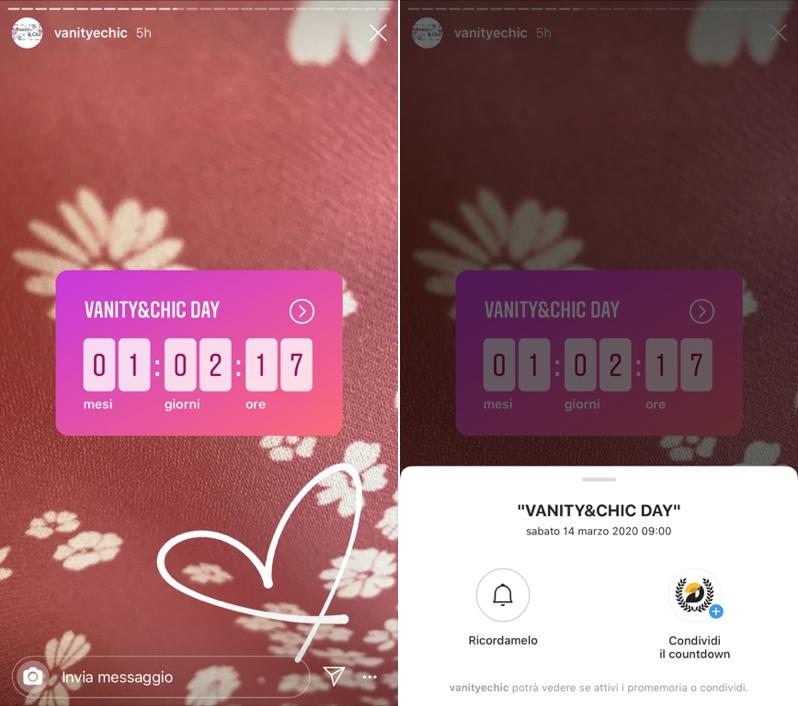 stickers Countdown storie di instagram