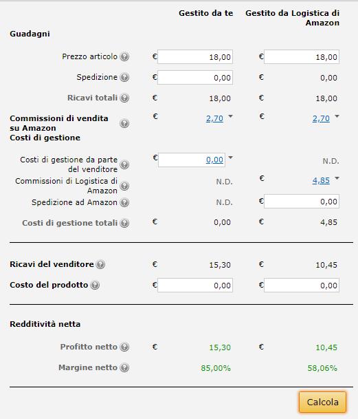Amazon per negozi: calcolo dei costi