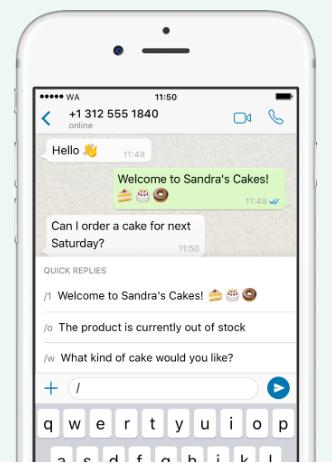 WhatsApp Business esempio messaggi di risposta rapida