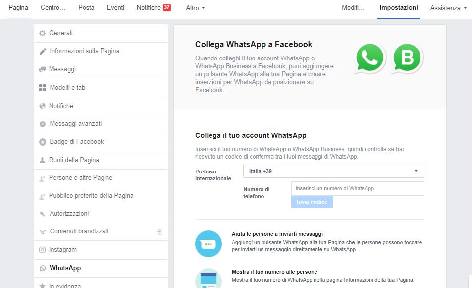 Schermata per collegare Facebook a WhatsApp - WhatsApp Business come funziona