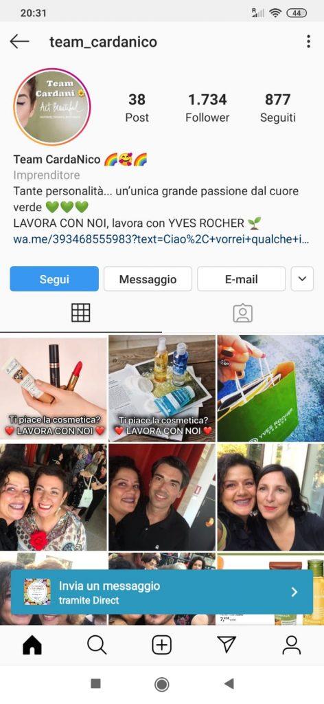 Screenshot post Instagram con link a WhatsApp