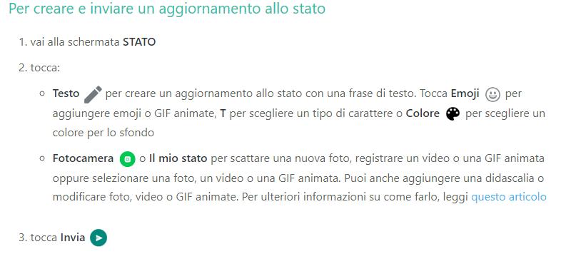 Passaggi per aggiornare lo stato - WhatsApp Business come funziona