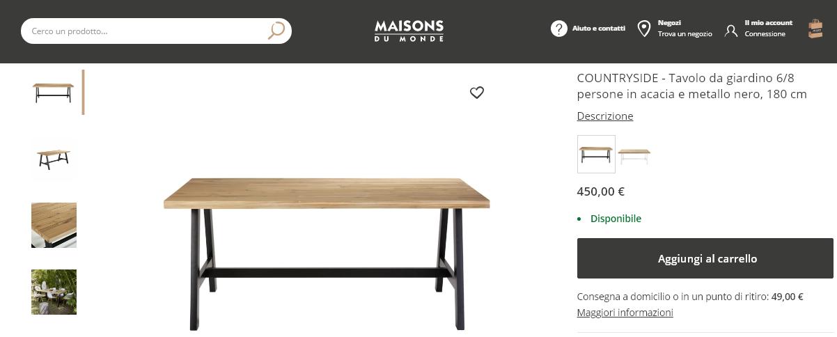 Esempio Maison du Monde scheda prodotto