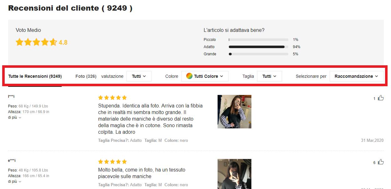 esempio di filtro recensioni clienti