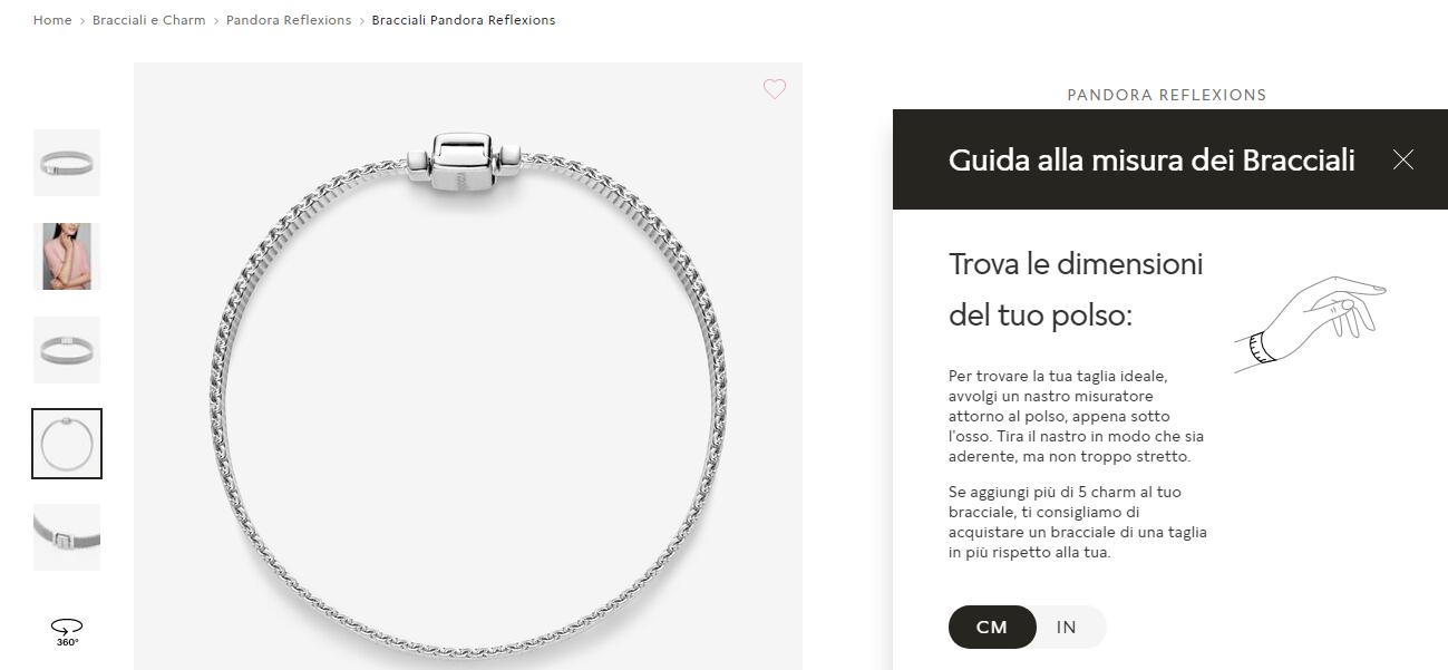 Guida alle taglie Pandora scheda prodotto ecommerce
