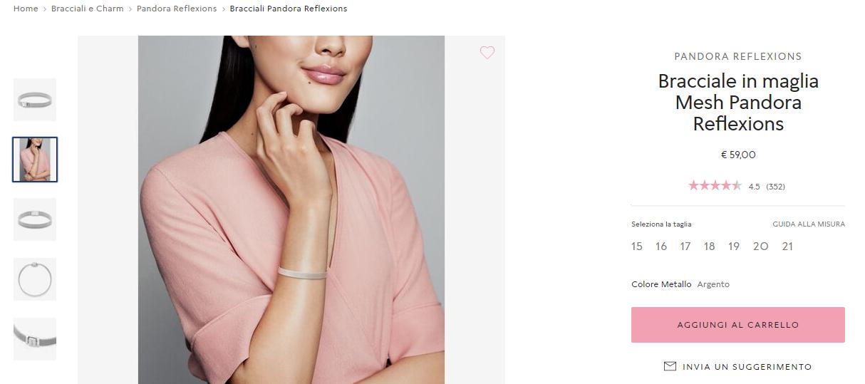 Pandora foto del prodotto in uso nella scheda prodotto ecommerce